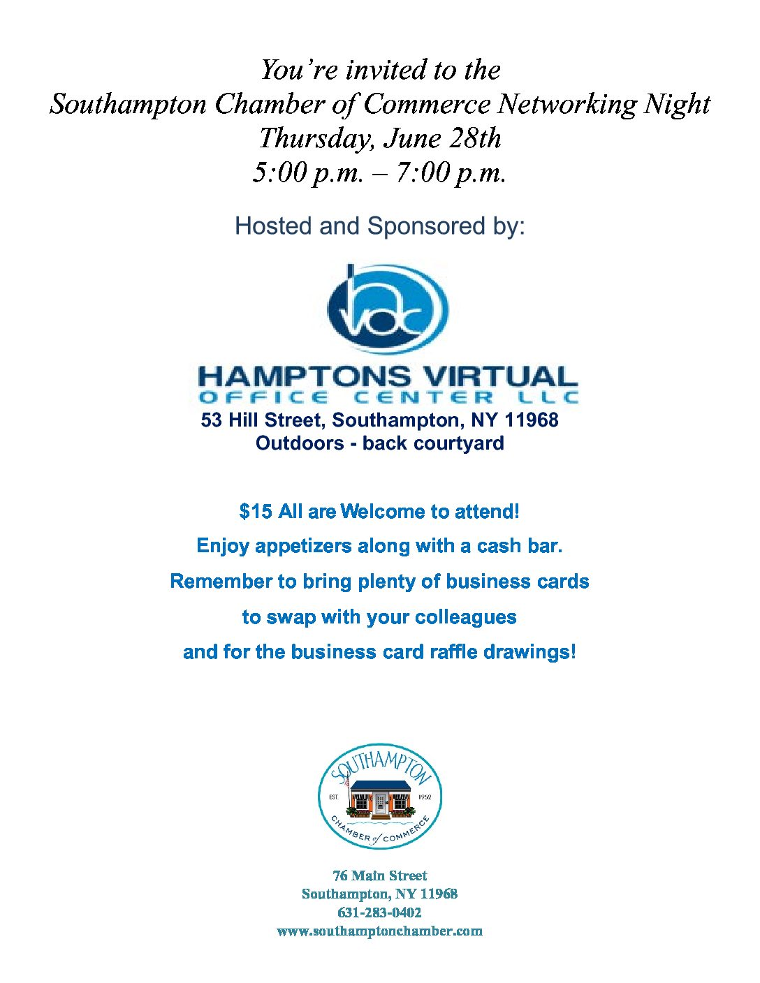 Networking Night-Thursday, June 28th | Southampton Chamber of Commerce